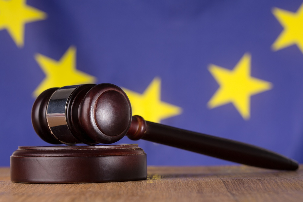 Gavel resting on sound block with european union flag in background